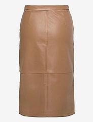Vero Moda - VMSOLANAN HW COATED CALF SKIRT - midi kjolar - tobacco brown - 1
