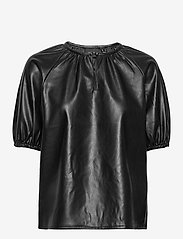 Vero Moda - VMSOLAGLORIA S/S COATED TOP - kortärmade blusar - black - 0