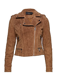 VMROYCE SHORT SUEDE JACKET COL - TOBACCO BROWN