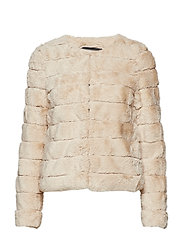 VMAVENUE FAUX FUR SHORT JACKET BOOS - OATMEAL