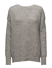 VMELLY L/S DEEP V-NECK KNIT GA - LIGHT GREY MELANGE