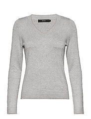 VMCLAIR GLORY LS V-NECK BLOUSE LCS - LIGHT GREY MELANGE