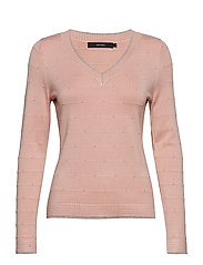 VMCLAIR GLORY LS V-NECK BLOUSE LCS - MISTY ROSE