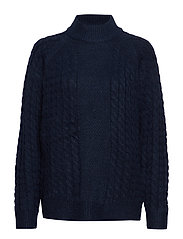 VMACEL CABLE LS HIGH NECK BLOUSE LCS - NAVY BLAZER