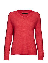 VMJACKIE LS PEARL V-NECK BLOUSE FR - CHINESE RED