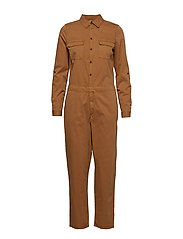 VMKASSANDRA LS WORKER JUMPSUIT - TOBACCO BROWN
