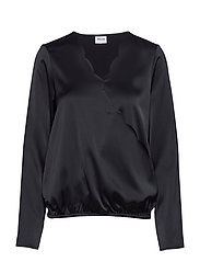 VMIMPORTANT LS WRAP BLOUSE VMA - BLACK