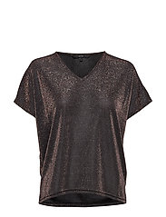 VMDENISE SS V-NECK TOP JRS BOO - COFFEE BEAN