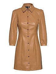 VMBUTTERMOLLY ABOVE KNEE COATED DRESS - TOBACCO BROWN