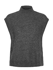 VMLEFILE SL HIGHNECK VEST BOO - MEDIUM GREY MELANGE