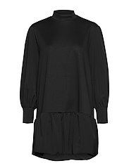 VMBELLE LS SHORT SWEAT DRESS JRS GA - BLACK
