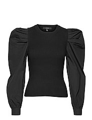 VMMORGAN LS O-NECK BLOUSE GA - BLACK