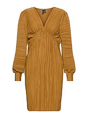 VMJOELLE L/S PLISSE DRESS SB2 - GOLDEN BROWN