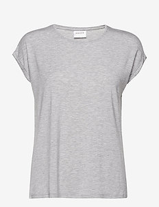 VMAVA PLAIN SS TOP GA NOOS - t-shirts - light grey melange