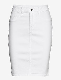 VMHOT NINE HW DNM PENCIL SKIRT NOOS - denim skirts - bright white