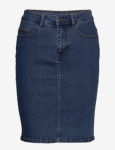 VMHOT NINE HW DNM PENCIL SKIRT NOOS - MEDIUM BLUE DENIM