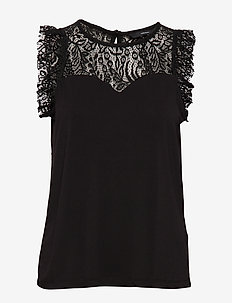 VMALBERTA SWEETHEART LACE S/L TOP NOOS - BLACK