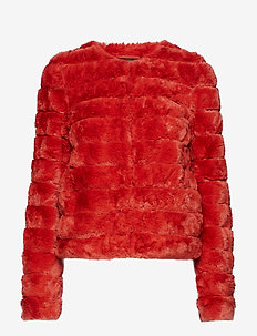 VMAVENUE FAUX FUR SHORT JACKET BOOS - fuskpäls - ketchup