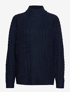 VMACEL CABLE LS HIGH NECK BLOUSE LCS - poolopaidat - navy blazer