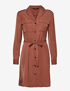 VMSELINA L/S SHORT SHIRT DRESS KI - MAHOGANY