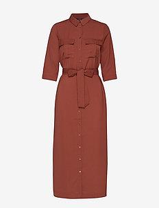 VMABIGAIL 3/4 ANKLE SHIRT DRESS WVN - MAHOGANY