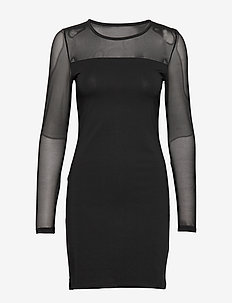 VMMAYAM MESH LS CUT SHORT DRESS GA NOOS - BLACK
