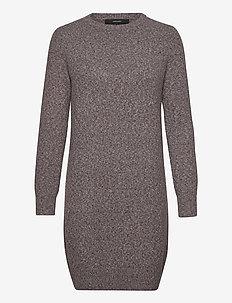 VMDOFFY LS O-NECK DRESS GA COLOR - krótkie sukienki - chocolate plum