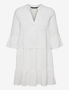 VMHELI 3/4 SHORT DRESS WVN GA - sommarklänningar - snow white