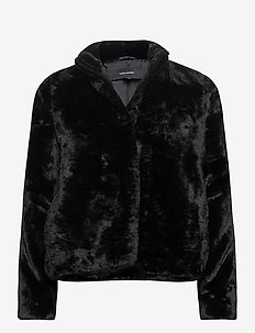 VMTHEA SHORT FAUX FUR JACKET - fuskpäls - black