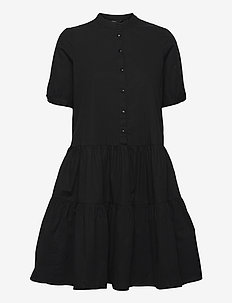 VMDELTA 2/4 ABK DRESS WVN DA GA KI COLOR - sommarklänningar - black