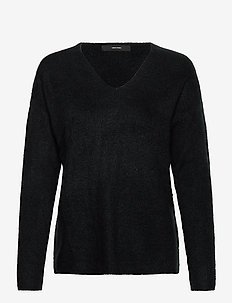 VMCREWLEFILE LS V-NECK BLOUSE - tröjor - black