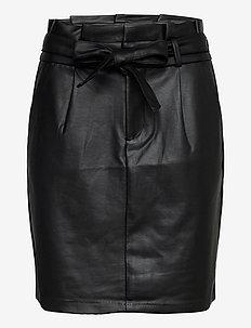 VMEVA HR PAPERBAG SHORT COATED SKT - korta kjolar - black