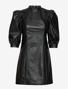 VMGWENHAZEL 3/4 PU PUFF DRESS - BLACK