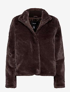 VMTHEA SHORT FAUX FUR JACKET COL - fuskpäls - chocolate plum
