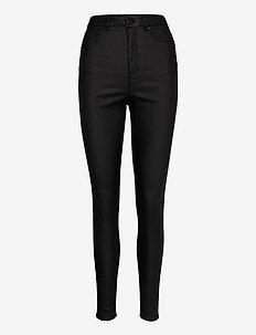 VMLOA HR SKINNY S COATED PANT GA NOOS - pantalons slim - black