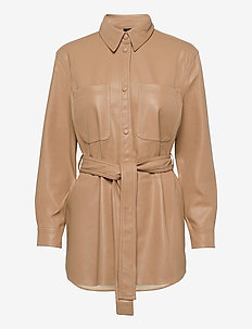 VMBUTTERDEBBIE COATED JACKET - leather jackets - tan