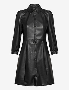 VMBUTTERMOLLY ABOVE KNEE COATED DRESS - shirt dresses - black