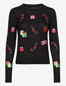 VMCHRISTMASPATCH LS O-NECK BLOUSE NVL - gensere - black