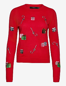 VMCHRISTMASPATCH LS O-NECK BLOUSE NVL - trøjer - chinese red