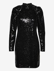 VMJAGGER LS SHORT DRESS JRS BOO - pailletkjoler - black