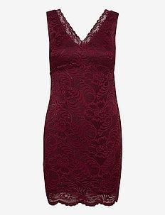 VMJANNE SL SHORT LACE DRESS JRS BOO - fodralklänningar - cabernet
