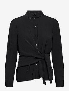 VMMACI LS KNOT SHIRT WVN - långärmade skjortor - black