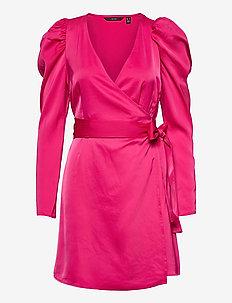 VMJUVA L/S WRAP SHORT DRESS WVN LCS - omlottklänningar - pink peacock