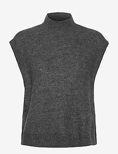 VMLEFILE SL HIGHNECK VEST BOO - stickade västar - medium grey melange