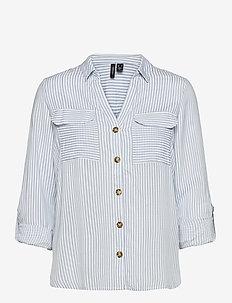 VMBUMPY L/S SHIRT COLOR - långärmade skjortor - snow white