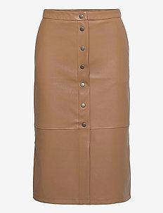 VMSOLANAN HW COATED CALF SKIRT - midi kjolar - tobacco brown