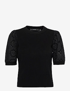 VMNEWFLOWERS SS O-NECK BLOUSE - stickade toppar - black