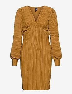 VMJOELLE L/S PLISSE DRESS SB2 - midi kjoler - golden brown