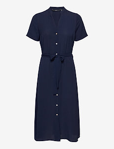 VMSAGA SS CALF SHIRT DRESS GA COLOR - sommarklänningar - navy blazer