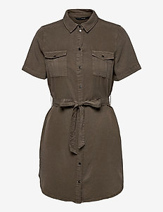VMSILJA SS SHORT SHIRT DRESS GA COLOR - sommarklänningar - bungee cord